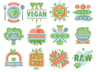 Organic vegan healthy food eco restaurant logo badges labels with vegetarian raw nature food diet designs vector illustration
