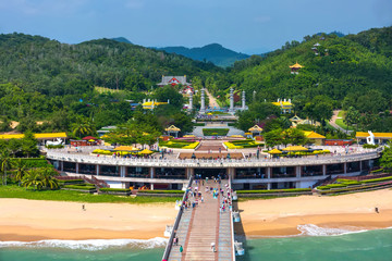 Nanshan Buddhist Cultural Park, Sanya, Hainan Island, China.  The bridge leads to a Buddha statue.