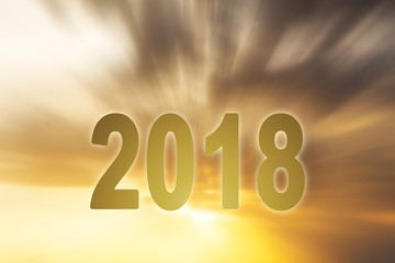 New year 2018 digits text sunset blur background
