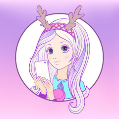 Young nice girl with long multi colored pink hear and deer's hor