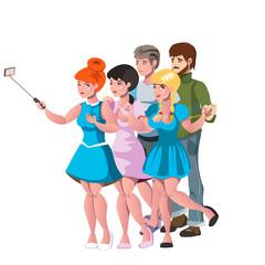 People group taking selfie photo friends