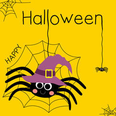 Cute Happy Halloween lettering design concept with big black spider wearing witch hat and webs on orange background for poster, banner, party invitation, greeting card. Vector Illustration.