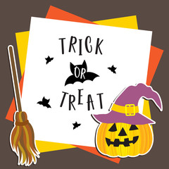 Cute Halloween in Trick or Treat design concept with purple witch hat on Jack O'Lantern pumpkin, broomsticks on frame template for poster, banner, party invitation, greeting card. Vector Illustration.