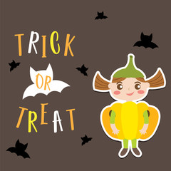 Cute Halloween in Trick or Treat design concept with girl in pumpkin costume and black bats on dark background for poster, banner, party invitation, greeting card. Vector Illustration.