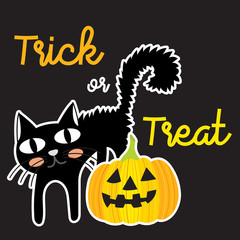 Cute Halloween in Trick or Treat lettering design concept with Jack O'Lantern pumpkin and black cat on dark background for poster, banner, party invitation, greeting card. Vector Illustration.