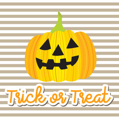 Cute Halloween in Trick or Treat lettering design concept with Jack O'Lantern pumpkin on striped background for poster, banner, party invitation, greeting card. Vector Illustration.