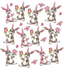 Cute rabbits pattern Vector. Happy bunny couple