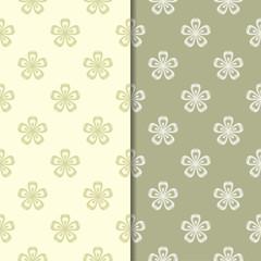 Olive green set of floral seamless patterns