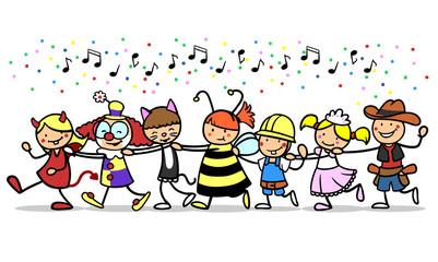 Kinder machen Polonaise an Karneval mit Kostüm