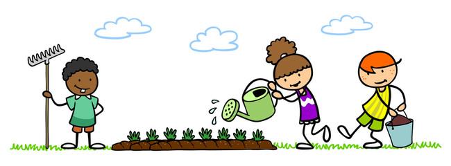 Kinder im Schulgarten pflanzen Gemüse
