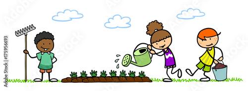 Cartoon Giesskanne Beim Blumen Giessen Im Garten Stockfotos Und