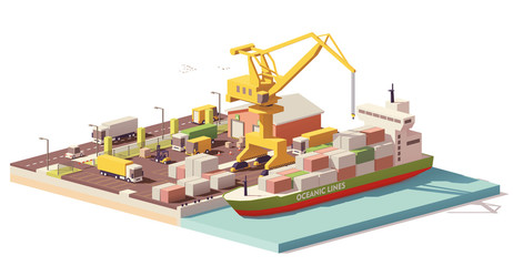 Vector low poly port container terminal and ship Fotomurales
