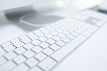 Close up keyboard of a modern laptop