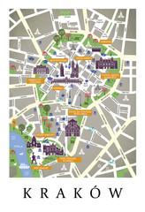 Plan miasta, mapa, makieta Kraków - Polska