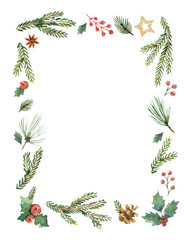 Watercolor vector Christmas frame with fir branches and place for text.