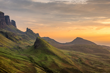 Beautiful view of Quiraing on the Isle of Skye at sunrise.