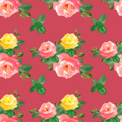 pattern with red,yellow roses,
