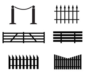 fence set icon on white background. black fence sign. flat style.