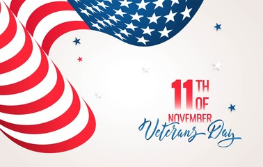 Happy Veterans Day flyer, banner or poster. Holiday background with waving us flag and calligraphy. Vector illustration