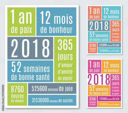 2018 carte de v ux mois semaines heures 1 fichier vectoriel libre de droits sur la banque d - Carte de voeux originale gratuite ...