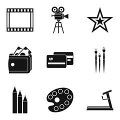 Star movie icons set, simple style