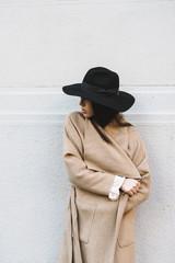 Stylish woman with autumn coat