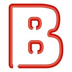 Letter b plastic tube icon, cartoon style