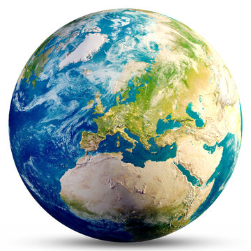 Planet Earth - Europe 3d rendering