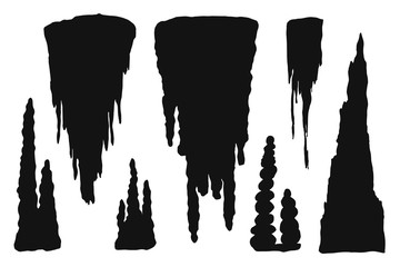 stalactites cave silhouette. stone blocks growths vector isolated set
