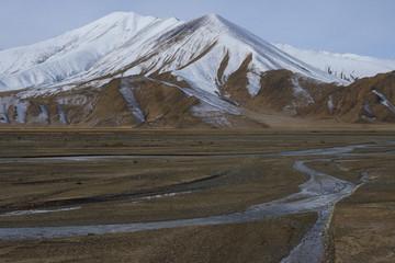 Tibetan Plateau mountain landscape with snow