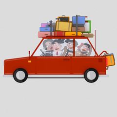 Family driving red car with luggage Easy combine! For custom 3d illustration contact me.