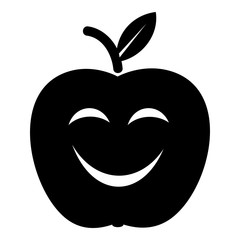Smile apple icon, simple black style