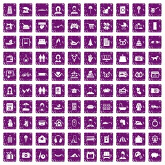 100 family icons set grunge purple