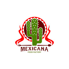 Mexican cuisine restaurant cactus vector icon