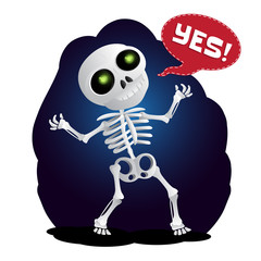 Happy cartoon skeleton raises his hands in the air. Vector illustration to Happy Halloween isolated on white background