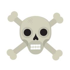 Bones and skull icon flat style. Isolated on white background. Vector illustration