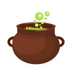 Pot with a potion icon flat style. Isolated on white background. Vector illustration