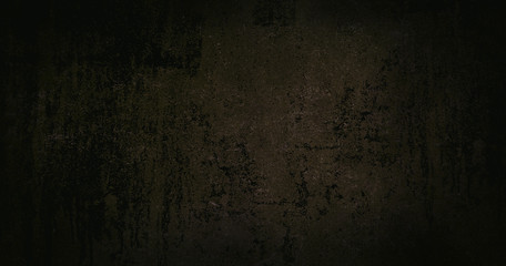 Brown dark background of school blackboard colored texture. Brown black vignetted aged texture background. Long format