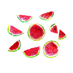 Watermelon slices watercolor hand made illustration set