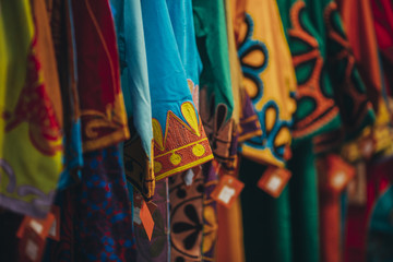 Colorful clothes on a hanger