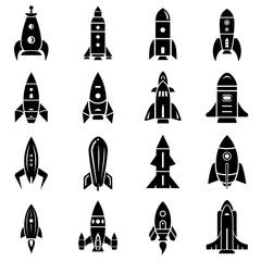 Rocket icons set, simple style