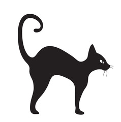 Black cat icon flat style. Isolated on white background. Vector illustration