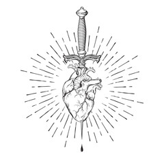 Human heart pierced with ritual dagger in rays of light isolated on white background hand drawn vector illustration. Black work, flash tattoo or print design