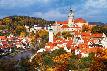 View of Cesky Krumlov is one of the most picturesque towns at autumn, Bohemia, Czech Republic. Fototapete