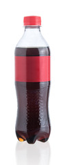 Plastic bottle of cola isolated on a white background