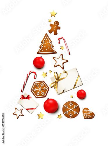 weihnachtsbaum silhouette mit lebkuchen geschenke. Black Bedroom Furniture Sets. Home Design Ideas
