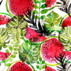 Tropical watermelon and palm leaves seamless pattern. Watercolor painting