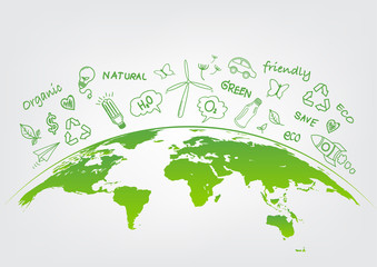 World environment and sustainable development concept with ecology doodle icons, vector illustration