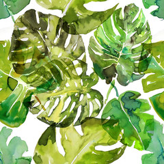 Watercolor monstera palm leaves seamless pattern. hand drawn illustration