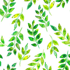 Watercolor green leaf hand drawn seamless pattern